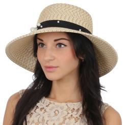Эффектная женская шляпа бежевого цвета с отделкой на тулье от Fabretti, арт. G51-1 beige