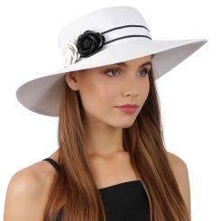 Эффектная женская летняя шляпа белого цвета со стильными цветочками от Fabretti, арт. G65-4 white