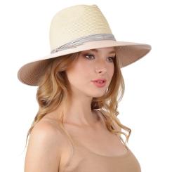 Летняя женская шляпа, бежевого цвета, с высокой тульей от Fabretti, арт. G71-1/6 beige/coral