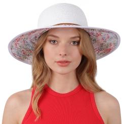 Привлекательная женская шляпа белого цвета с цветным рисунком на полях от Fabretti, арт. G75-4 white
