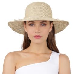 Элегантная женская шляпа бежевого цвета с бусинами на полях от Fabretti, арт. G79-3 beige