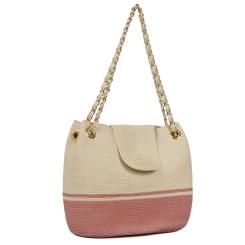 Пляжная женская сумка из соломки, бежевого и розового цветов, с одним отделом от Fabretti, арт. GB10-3/16 beige/rose