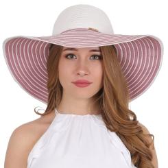 Пляжная летняя женская шляпа белого цвета с розовой отделкой от Fabretti, арт. GL53-4/16 white/rose