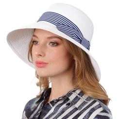 Летняя женская соломенная шляпа белого цвета для пляжного отдыха от Fabretti, арт. GL72-4 white