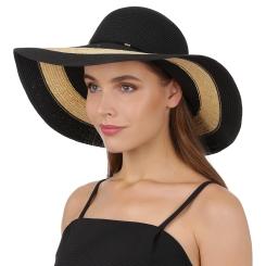 Широкополая летняя шляпа черно-бежевого цвета с отделкой на тулье от Fabretti, арт. GL74-2/1 black/beige
