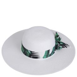 Летняя женская шляпа, белого цвета, с прямыми широкополыми полями от Fabretti, арт. GL87-1 beige