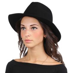 Женская шляпа, черного цвета, с высокой тульей, из шерстяного фетра от Fabretti, арт. HW171-black