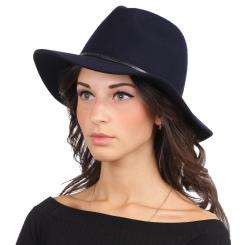 Женская шляпа, тёмно синего цвета, с широкими полями, из шерстяного фетра от Fabretti, арт. HW171-dark blue