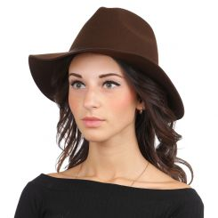 Женская шляпа, тёмно коричневого цвета, с высокой тульей и широкими полями от Fabretti, арт. HW171-dark brown