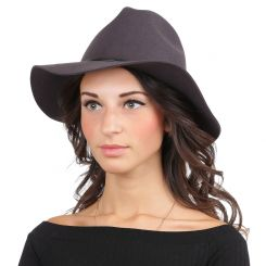Теплая женская шляпа, тёмно серого цвета, с высокой тульей от Fabretti, арт. HW171-gray