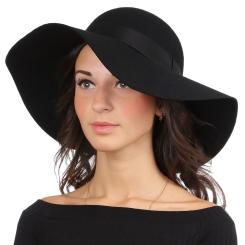Теплая женская шляпа, черного цвета, с широкими полями от Fabretti, арт. HW172-black