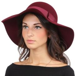 Женская шляпа, бордового цвета, с высокой закругленной тульей и широкими полями от Fabretti, арт. HW172-bordo