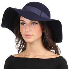 Теплая женская шляпа, тёмно синего цвета, из шерстяного фетра от Fabretti, арт. HW172-dark blue