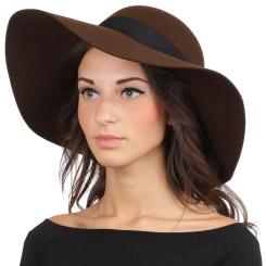 Женская шляпа, тёмно коричневого цвета, с высокой закругленной тульей от Fabretti, арт. HW172-dark brown