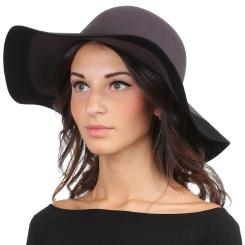 Теплая женская шляпа, серого цвета, волнообразной формы от Fabretti, арт. HW173-gray/black
