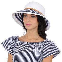 Летняя легкая женская шляпа с высокой тульей и яркими полосками на полях от Fabretti, арт. K1-4 white/blue