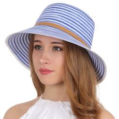 Летняя женская шляпа, синего цвета, с контрастной бежевой лентой на тулье от Fabretti, арт. K6-5/1 blue