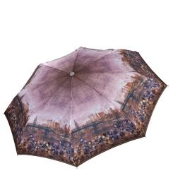 Легкий женский зонт автомат, с принтом по краю купола, коричневого цвета от Fabretti, арт. L-17118-10
