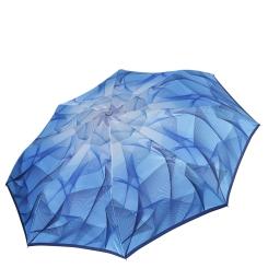 Женский зонт автомат голубого цвета, с красивым рисунком на куполе  от Fabretti, арт. L-18111-12