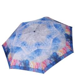 Красивый женский зонт автомат с нежным принтом, синего цвета от Fabretti, арт. P-19102-2
