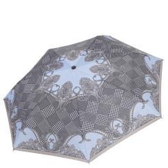 Женский зонт автомат, серого цвета с принтом, на маленьком куполе из эпонжа от Fabretti, арт. P-19116-6