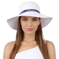 Стильная летняя соломенная шляпа белого цвета с отделкой на тулье от Fabretti, арт. P10-4 white