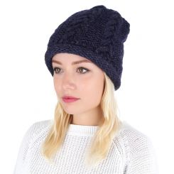 Зимняя женская шапка с крупным плетением нитей, тёмно синего цвета от Fabretti, арт. S2016-d.blue
