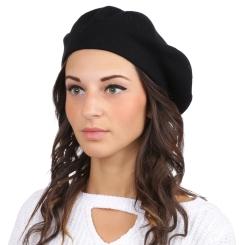 Классический женский берет, черного цвета, из натуральной шерсти и кашемира от Fabretti, арт. S2017-1-black
