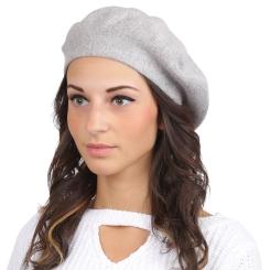 Модный женский берет, светло серого цвета, из натуральной шерсти и кашемира от Fabretti, арт. S2017-1-It.gray