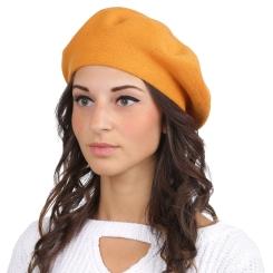 Женский берет, из натуральной шерсти и кашемира яркого оранжевого цвета от Fabretti, арт. S2017-1-orange