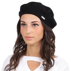 Стильный женский берет, черного цвета, из натуральной шерсти и кашемира от Fabretti, арт. S2017-3-black