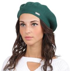 Модный женский берет, из натуральной шерсти и кашемира зеленого цвета от Fabretti, арт. S2017-3-green