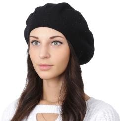 Классический женский берет, черного цвета, из натуральной шерсти и кашемира от Fabretti, арт. S2018-1-black