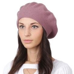 Модный женский берет, брусничного и розового цветов, из шерсти и кашемира от Fabretti, арт. S2018-1-d.pink