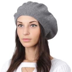 Модный женский берет, серого цвета, из натуральной шерсти и кашемира от Fabretti, арт. S2018-1-gray