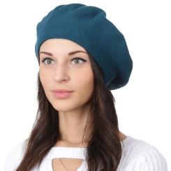 Красивый женский берет, изумрудного цвета, из шерсти и кашемира от Fabretti, арт. S2018-1-green