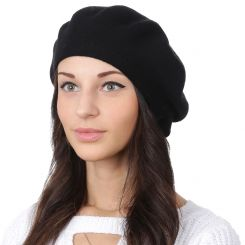 Классический женский берет, черного цвета, из натуральной шерсти и кашемира от Fabretti, арт. S2018-2-black