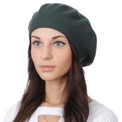 Модный женский берет, тёмно зеленого цвета, из натуральной шерсти и кашемира от Fabretti, арт. S2018-2-d.green