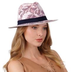 Стильная женская соломенная шляпа с красивым принтом, для летнего отдыха от Fabretti, арт. V11 MULTICOLOR