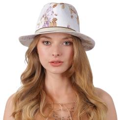 Модная женская соломенная шляпа белого цвета с красивым принтом от Fabretti, арт. V12-4/5 WHITE/BLUE