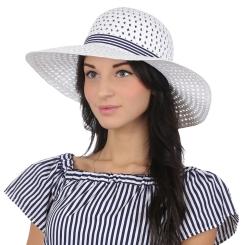 Эффектная женская соломенная шляпа белого цвета для летнего отдыха от Fabretti, арт. V23-4 white