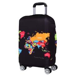 Чехол для большого чемодана, из полиэстера, черного цвета, с красивым принтом от Fabretti, арт. W1003-L