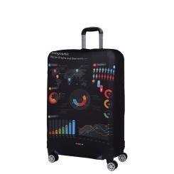 Чехол для чемодана из полиэстера, черного цвета, с необычным принтом от Fabretti, арт. W1010-M
