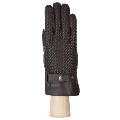 Стильные мужские перчатки из натуральной кожи ягненка, темно-коричневого цвета от Fabretti, арт. 2.60-2 chocolat