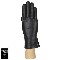 Сенсорные женские перчатки черного цвета из натуральной кожи и шерсти  от Fabretti, арт. 3.12-1 black