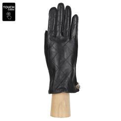 Элегантные комбинированные сенсорные перчатки из натуральной кожи и шерсти, черного цвета от Fabretti, арт. 3.23-1 black
