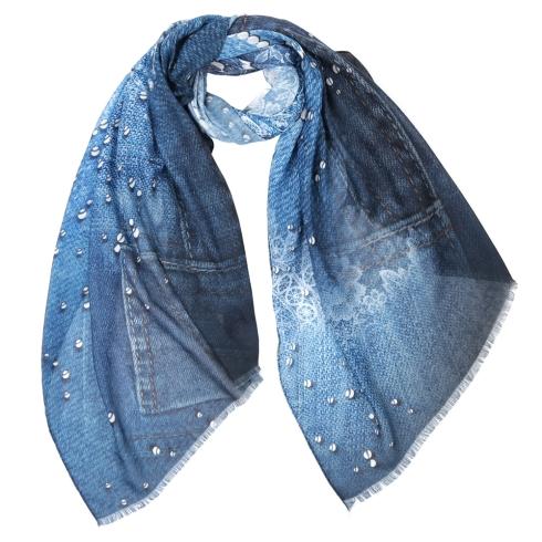 Модный женский шарф синего цвета с ажурным принтом, из 100% вискозы от Fabretti, арт. CX1819-02-1