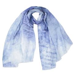 Женский шарф в голубых оттенках с нежным принтом, из 100% вискозы от Fabretti, арт. CX1819-03-1