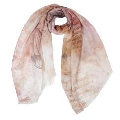 Красивый женский шарф в нюдовых тонах с нежным принтом, выполнен из вискозы от Fabretti, арт. CX1819-03-2