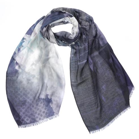 Стильный женский шарф с принтом в виде городской архитектуры, из 100% вискозы  от Fabretti, арт. CX1819-04-2
